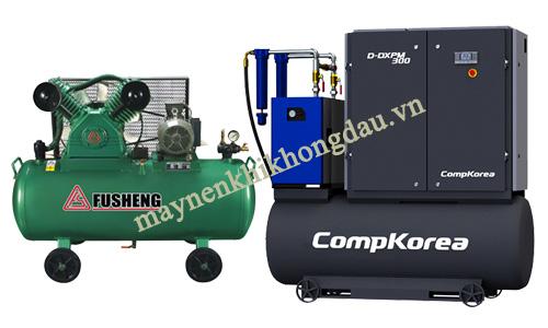 máy nén khí Fusheng và Compkorea đều tập chung phát triển các dòng máy dùng trong công nghiệp