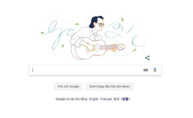 Hình ảnh nhạc sĩ được vinh danh tại trang chủ Google Doodle